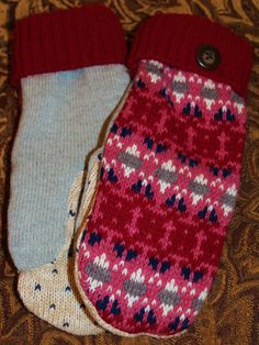 Recycled Sweater Mittens with Fleece Lining by ATwistOnTradition