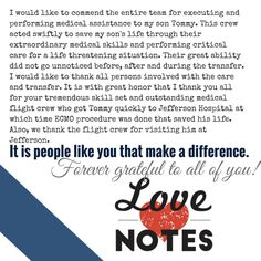 """""""It is people like you that make a difference."""" Air Methods Love Notes Project"""
