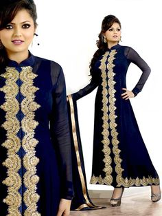 Magnificent navy blue color georgette Kurta. Item Code : SLHD62009 www.bharatplaza.com/new-arrivals/palazzo-suits.html.