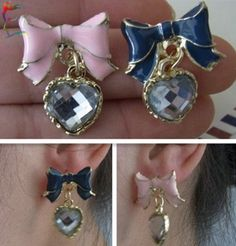 Cheap earring women, Buy Quality earings gold directly from China earrings pearls jewelry Suppliers: Wholesale Butterfly Bow stud earring Blue Pink 2C fashion heart eardrop metal alloy casual cartoon drop earirng jewelry