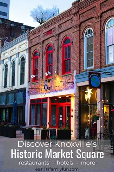 Discover Historic Market Square in downtown Knoxville, TN. The square boasts all the best of Knoxville restaurants, hotels, events, and more. This is a must visit on your USA, Tennessee vacation! #tntravel #knoxville #familytravel #eastTN #EastTNFun