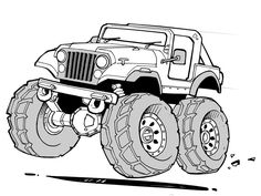 Cartoon Dracula Coloring Pages Jeep Drawing, Car Drawing Pencil, Cartoon Car Drawing, Cartoon Art, Monster Truck Birthday, Monster Trucks, Jeep Tattoo, Monster Truck Coloring Pages, Ed Roth Art