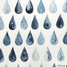 Eine einfache, kurze Schritt-für-Schritt Anleitung, wie man Aquarell-Regentropfen malt, watercolor ganz easy für Anfänger.