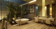 Sleek White Bathtub Design Beside Indoor Courtyard