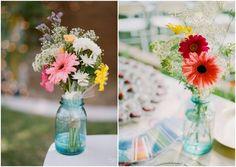 Budget Backyard Wedding - mason jars filled with flowers #rustic #wedding