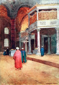 """'Interior of S. Sophia, the Sultan's Gallery' from """"Constantinople painted by Warwick Goble"""" (1906)"""