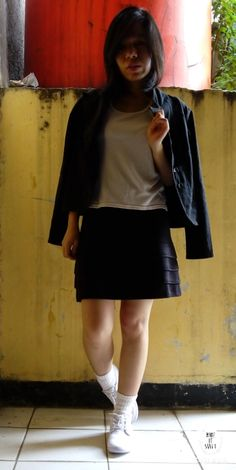 #Tanktop #white #mini #short #black #sneaker #shoes #white #jacket #blazer #outfit