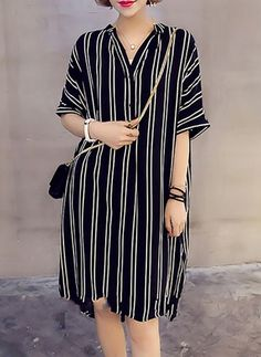 Stripe Buttons Shirt V-Neckline Shift Dress Latest African Fashion Dresses, African Wear Dresses, Chic Outfits, Dress Outfits, Fashion Outfits, Dress Fashion, Simple Dresses, Casual Dresses, Summer Dresses