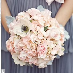 slate gray dress with PINK bouquet. Hydrangeas, roses & anemones & dusty miller (never thought we would like dusty miller anywhere).