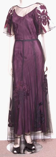 1930s Plum Silk Dress. (Looks very Downton Abbey to me - even though the series isn't in the '30s yet!)