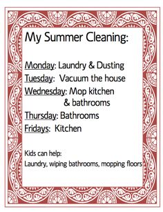 My Summer Cleaning schedule and more FREE printables!