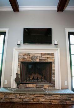 Beautiful stone fireplace.