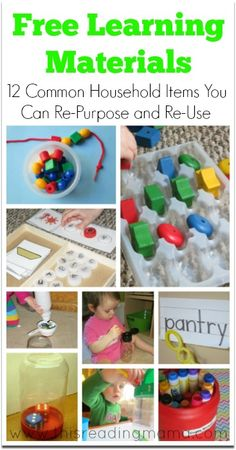 Free Learning Materials: 12 Common Household Items You can Re-Purpose and Re-Use for Learning | This Reading Mama