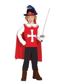 El disfraz de mosquetero rojo para niño, incluye Camisa con capa y pantalón. en DisfracesMimo.com