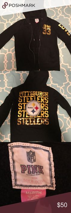 Medium Victoria's Secret Bling Steelers Zip Up Size medium, bling on the front and back, love pink on the sleeve, worn a few times like new. PINK Victoria's Secret Tops Sweatshirts & Hoodies