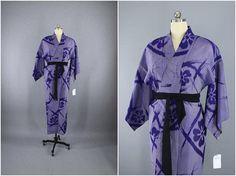 1930s Vintage Silk Kimono Robe / Meisen Wedding Dressing Gown Lingerie / Downton Abbey Art Deco / Blue Purple Ikat