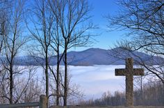 Looking towards Tobacco Row Mountain with fog covering the James River valley.