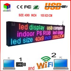 40X9 inch full-color RGB LED sign wireless and usb programmable rolling information  P6 indoor led display screen #Affiliate