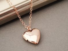 Rose Gold Locket Necklace Heart Locket Necklace by BeautifulAsYou
