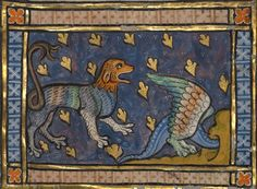 A Dragon Flying over a Panther, Bestiary ca. 1270