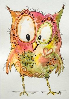 Camdin in the morning Kunstjournal Inspiration, Art Journal Inspiration, Owl Art, Bird Art, Whimsical Owl, Happy Paintings, Watercolor Cards, Doodle Art, Painting & Drawing