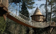Thanks to the British design firm Blue Forest, a family is Living the High Life in one of the coolest tree houses youll ever see. While it has a medieval-influenced architectural style, this tree house is anything but old school. Luxury Tree Houses, Cool Tree Houses, Treehouse Living, Treehouse Cabins, Tree House Designs, Blue Forest, In The Tree, Play Houses, My Dream Home