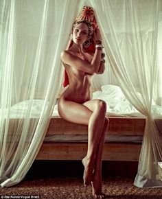 Victoria's Secret model Candice Swanepoel naked in the January 2014 edition of Vogue Brazil
