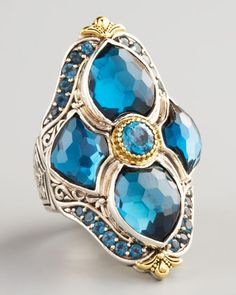 My skin is too olive for this one, but on a pale or bronze skin tone it must look amazing! London Blue Topaz Figure-8 Ring by Konstantino at Neiman Marcus.