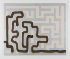 """MICHAEL SAILSTORFER """"Maze 10"""" 2011  Acrylic screen print and spray paint on canvas / Sérigraphie acrylique et peinture aérosol sur toile  6.2 x 7.5 feet / 190 x 228 cm Unique"""