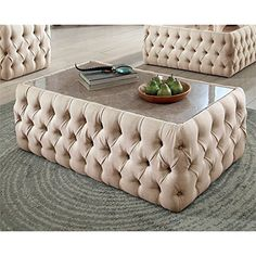 Not all coffee tables are created equally, and the Furniture of America Racquelle Button Tufted Coffee Table makes a serious effort to redefine. Cool Coffee Tables, Coffee Table Design, Coffee Table With Storage, Living Room Decor Cozy, Living Room Sofa, Home Decor Furniture, Furniture Design, Tufted Ottoman Coffee Table, Center Table Living Room
