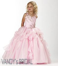 A-Line Strap Floor-Length Sleeveless Organza Pink Flower Girl Dress with Embroidery(JSAS7962) [JSAS7962] - US$80.99 :
