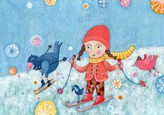 Ski into winter... by artist Katarina Ilkovic, (children's magazine illustration 2009) <> art, of children http://katarinailkovic.com/index.php?page=children-magazines-09