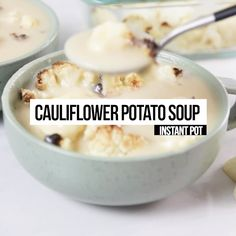Vegan Cauliflower Potato Soup Recipe April Golightly is part of - Yummy vegan soup made in the Instant Pot Pressure Cooker you'll fall in love with this Cauliflower Potato Soup Recipe made with canned Coconut milk Slow Cooker Desserts, Cooker Recipes, Fudge Recipes, Soup Recipes, Whole Food Recipes, Vegetarian Recipes, Dessert Recipes, Cauliflower Potato Soup, Vegan Cauliflower
