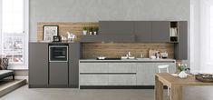 Cucina Moderna - Kalì Finitura cementho e maxximatt lavagna | Piano in laminato cementho | Maniglia con sistema gola Plana http://www.arredo3.it/cucine-moderne/cucina-moderna-kali/