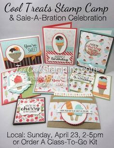 Cool Treats Stamp Camp & Sale-a-Bration Celebration Birthday Gift Cards, Happy Birthday Gifts, Heart Cards, Craft Party, Card Tags, Kids Cards, Greeting Cards Handmade, Homemade Cards, Stampin Up Cards