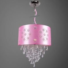 House of Hampton Gowin 1-Light Drum Chandelier Shade Color: White, Crystal: Clear European/Swarovski