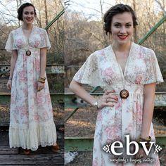 #Vintage #70s #Floral #Lace #Flutter #Hippie #Boho Empire #Maxi #Dress S M by shopEBV, $78.00