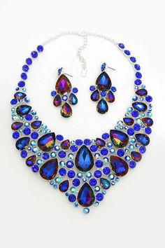 Crystal Sedona Necklace in Fiery Sapphire Vitrail on Emma Stine Limited