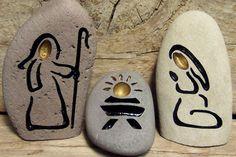 CONJUNTO Natividad piedra grabado Roca Natural por SandStudios