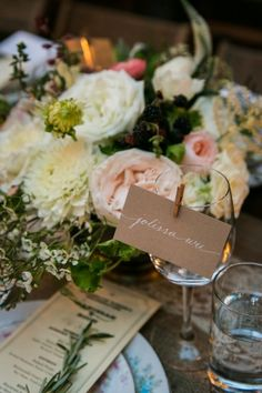 Kraft Paper Calligraphy Place Cards | Kelly Williams, Photographer | http://heyweddinglady.com/romantic-rustic-urban-wedding-at-brooklyn-win...