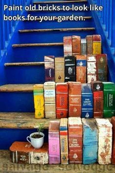 9. Painted brick books for your garden. DIY Ideas For Creating Cool Garden or Yard Brick Projects