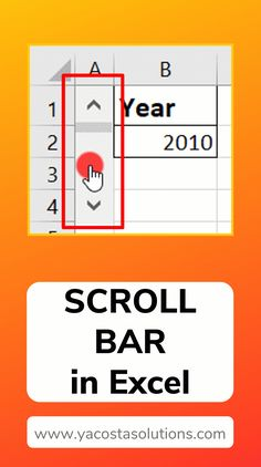 A Scroll Bar in Excel is like a slider bar. You can make a horizontal scroll bar or a vertical scroll bar. Take a look at how you can add a Scroll Bar to your Excel spreadsheet. Excel Tips, Excel Hacks, Excel Budget, Computer Help, Computer Programming, Computer Tips, Microsoft Excel Formulas, Microsoft Office, Tutorials