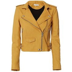 IRO Women's Ashville Yellow Cropped Leather Jacket ($1,198) ❤ liked on Polyvore featuring outerwear, jackets, yellow, brown jacket, yellow biker jacket, brown moto jacket, cropped jacket and leather moto jackets