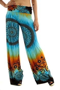 Uptown Apparel Womens Fold Over Waist Wide Leg Palazzo Pants at Amazon Women's Clothing store: