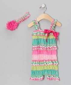Take a look at this Pink Zigzag Ruffle Romper & Headband - Infant & Toddler by Head over Heels on #zulily today!