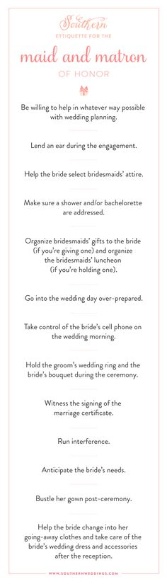 Southern Etiquette: Maid and Matron of Honor - Southern Weddings Bridesmaid Etiquette, Bridesmaid Duties, Bridesmaids And Groomsmen, Wedding Etiquette, Matron Of Honor Speech, Matron Of Honour, Wedding List, Best Friend Wedding, Wedding Ideas