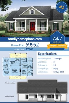 Affordable Ranch Home Plans for Building a Country Design by Family Home Plans, . Affordable Ranch Home Plans for Building a Country Design by Family Home Plans, . Family House Plans, Ranch House Plans, Dream House Plans, House Floor Plans, Home And Family, Family Family, Building A Porch, Building Plans, Traditional House Plans