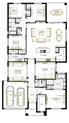 Floorplan - kitchen, living, meals, theatre, main bed etc. Take out lounge and theatre room. Make garage school room. Put shop on left side? Free House Plans, House Layout Plans, Best House Plans, House Layouts, 4 Bedroom House Plans, Family House Plans, Home Design Floor Plans, House Floor Plans, Single Storey House Plans