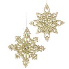 RAZ Imports - Gold Snowflake Ornaments - Set of 2 Crochet Snowflakes, Snowflake Ornaments, Christmas Ornaments, Black Christmas Decorations, Gold Christmas, Seasonal Decor, Fall Decor, Holiday Mood, Garden Theme