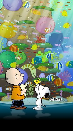 "AQUARIUM VISIT:  Charlie Brown, Snoopy, and Woodstock looking at the fish inside a large aquarium.   (""Follow me & The Gang :) https://www.pinterest.com/plzmrwizard67/"")   --Peanuts Gang/Snoopy, Woodstock, & Charlie Brown"